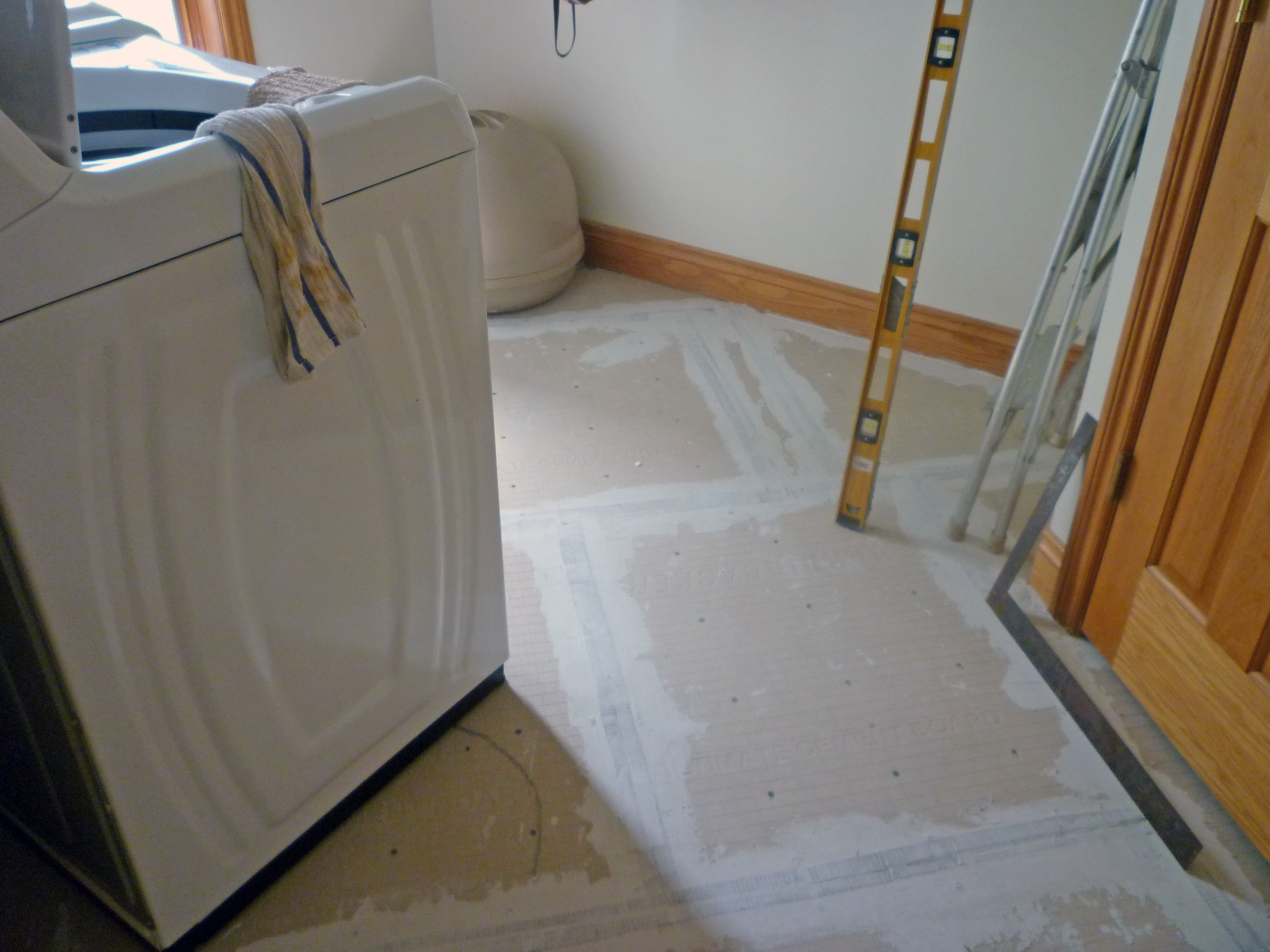 All for a new dishwasher new kitchen floor and lights for Laundry room floor tile