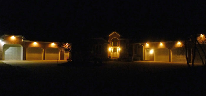 House Lit Up with LEDs at Night