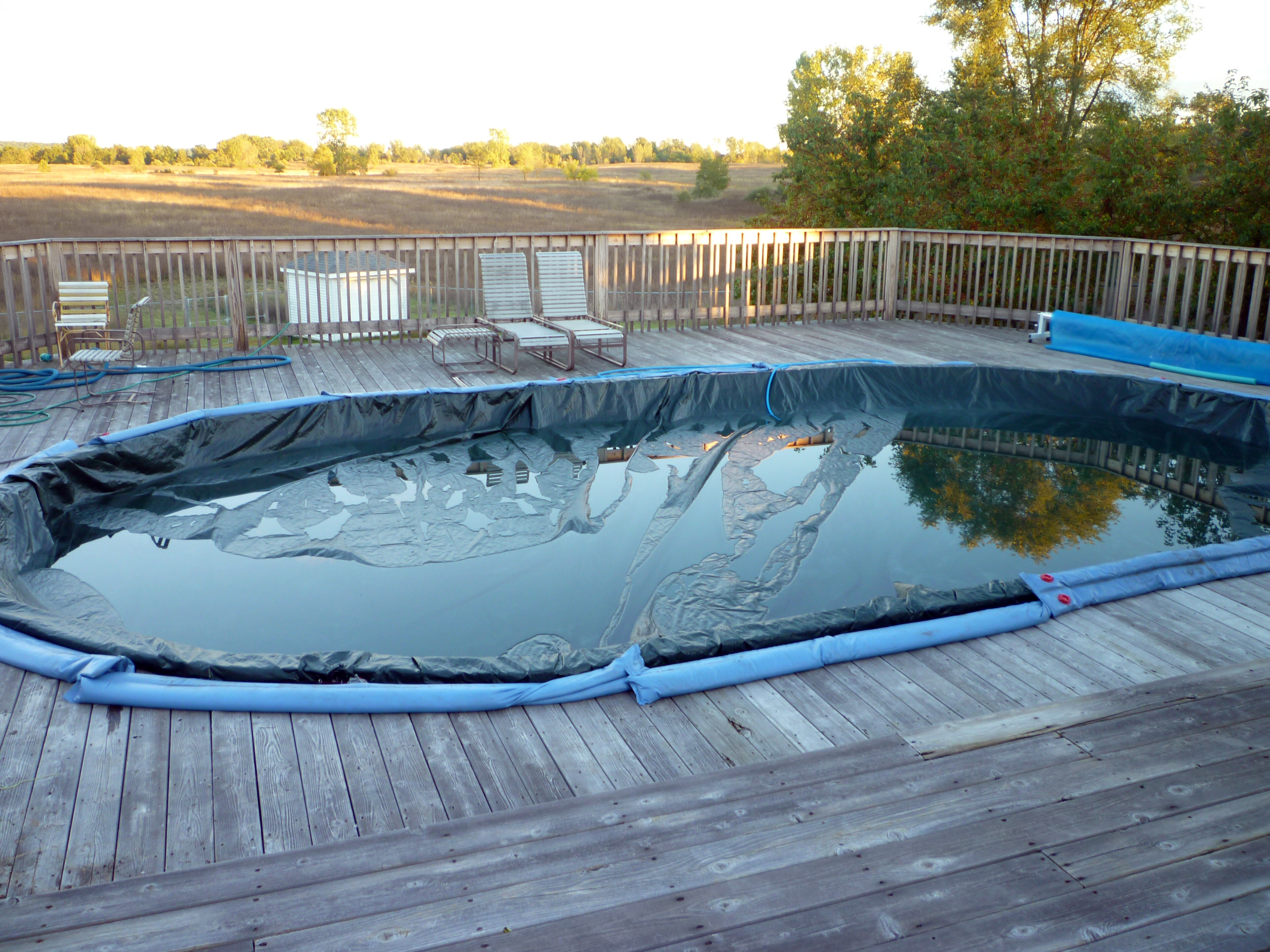 Fall is here closing up the swimming pool for winter for Chemicals needed to close swimming pool
